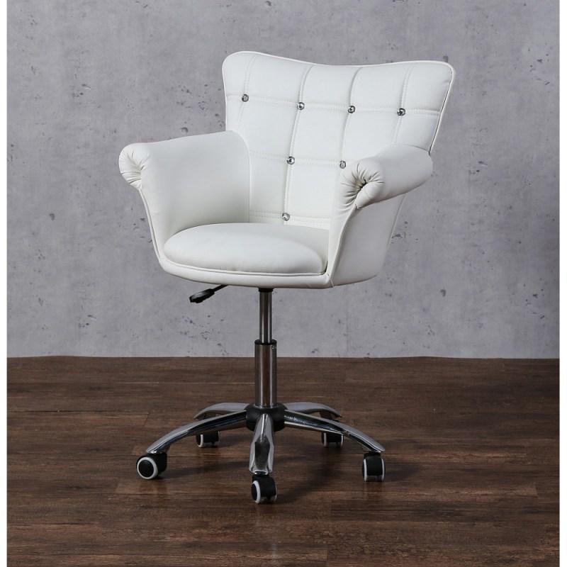 lora cristal fotel fryzjerski bialy z kolkami